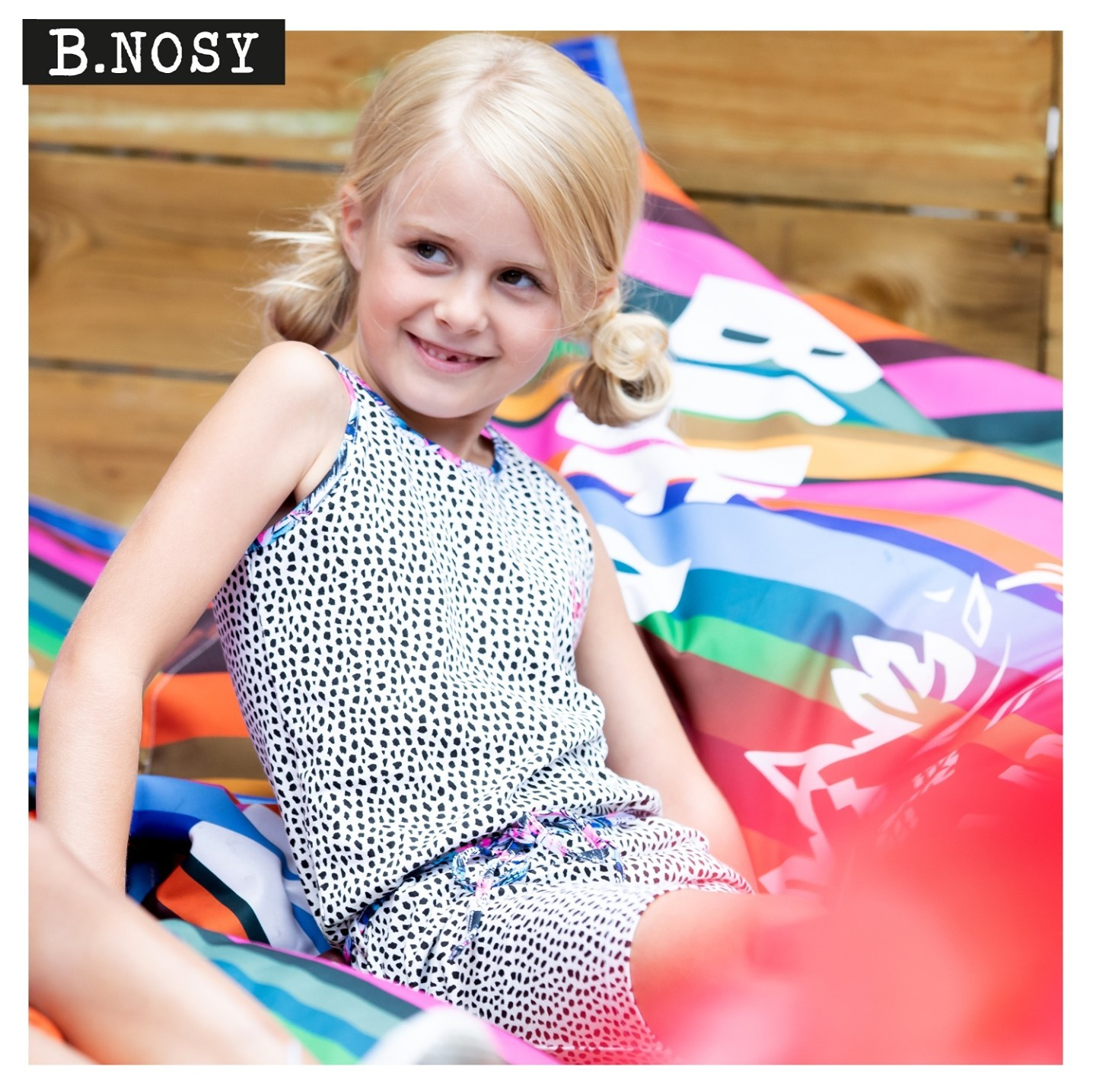 JUST CHILLING! ⁠ #bnosygirls #newcollection #dotsdress #loveit #justsitandrelaxed #kidswear #summercollection #inspiration #tuesdaymorning