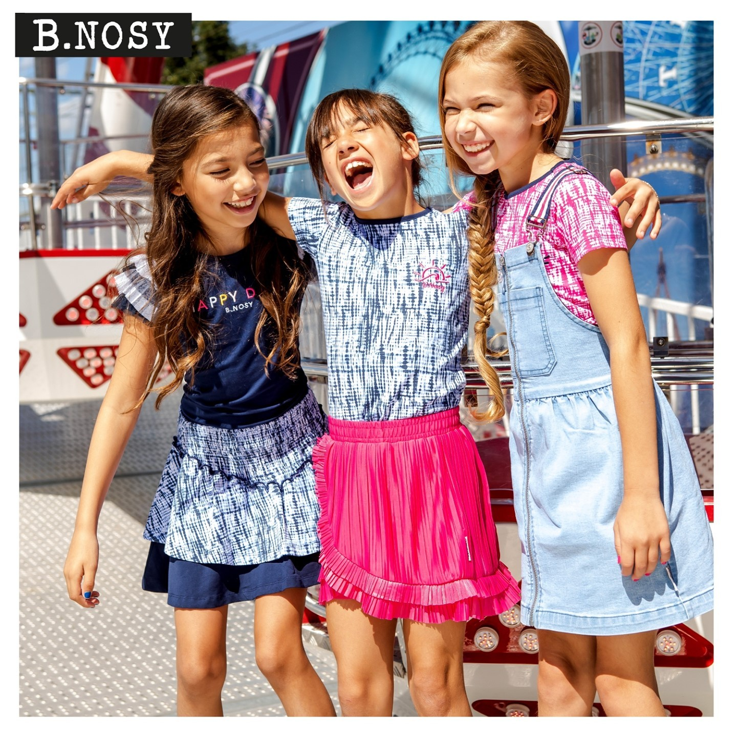 BEST FRIENDS FOREVER! ⁠ What are you plans for today? Let us know!⁠ #happysunday #modelfriends #kidsfashion #bnosygirls #happylaugh #tiedyecollection #denimdress #awesomeskirts #girlswear #sundayinspiration #letsgotothefair #letshavesomefun #bfun